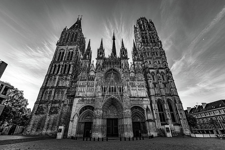 Rouen Cathedral Monochrome by Randy Scherkenbach