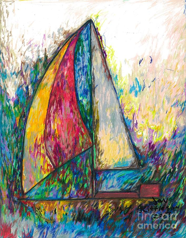 Water Drawing - Rough Sailing by Jon Kittleson