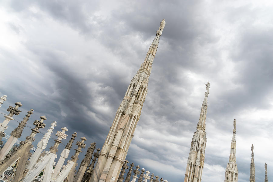 Rough Sky and Airy Spires - Milans Cathedral Duomo di Milano by Georgia Mizuleva