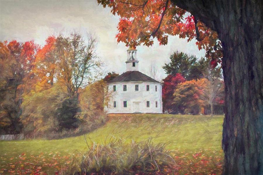 Round Church in Vermont Autumn by Jeff Folger