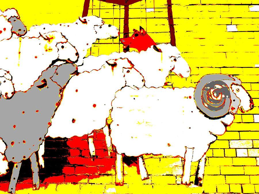 Rounding up the Sheep - Yellow by Lexa Harpell
