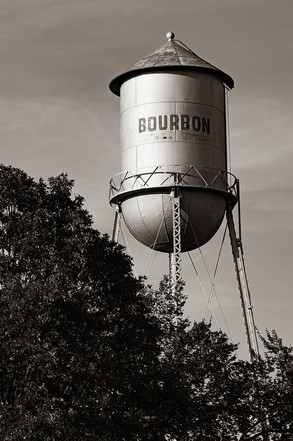 Route 66 Bourbon Water Tower - Sepia Edition Photograph