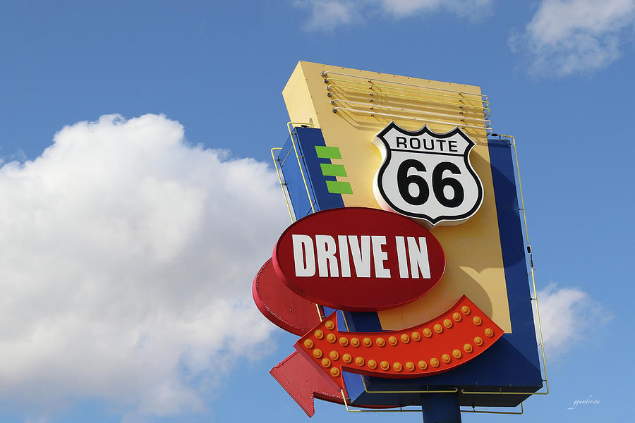 Route 66 Drive-In Sign by Gary Gunderson