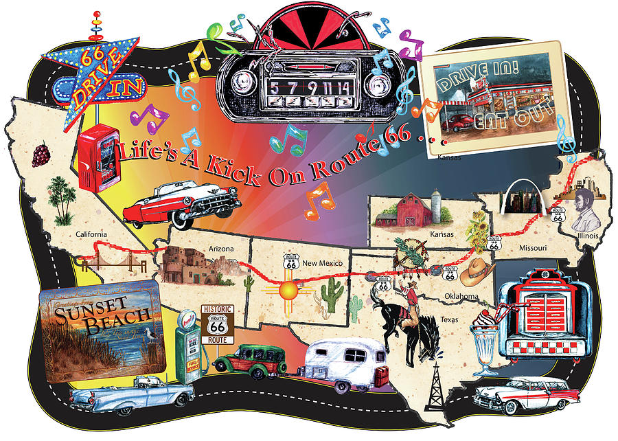 Travel Digital Art - Route 66 Map Sign by Sher Sester