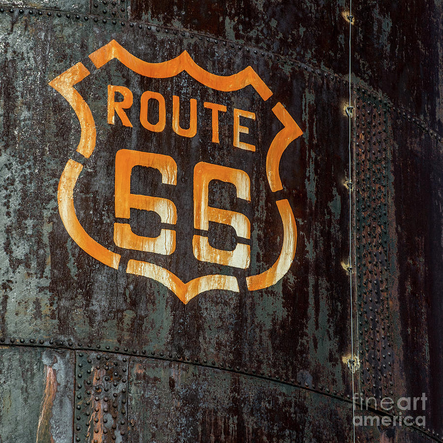 Route 66 Sign - Old Fuel Storage Tank - Arizona by Gary Whitton