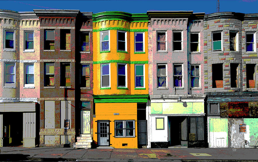 America Mixed Media - Row Houses Baltimore by Charles Shoup