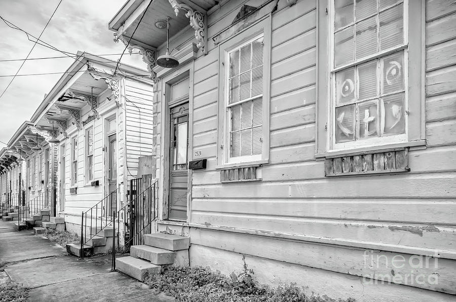 Row Houses - black and white NOLA by Kathleen K Parker