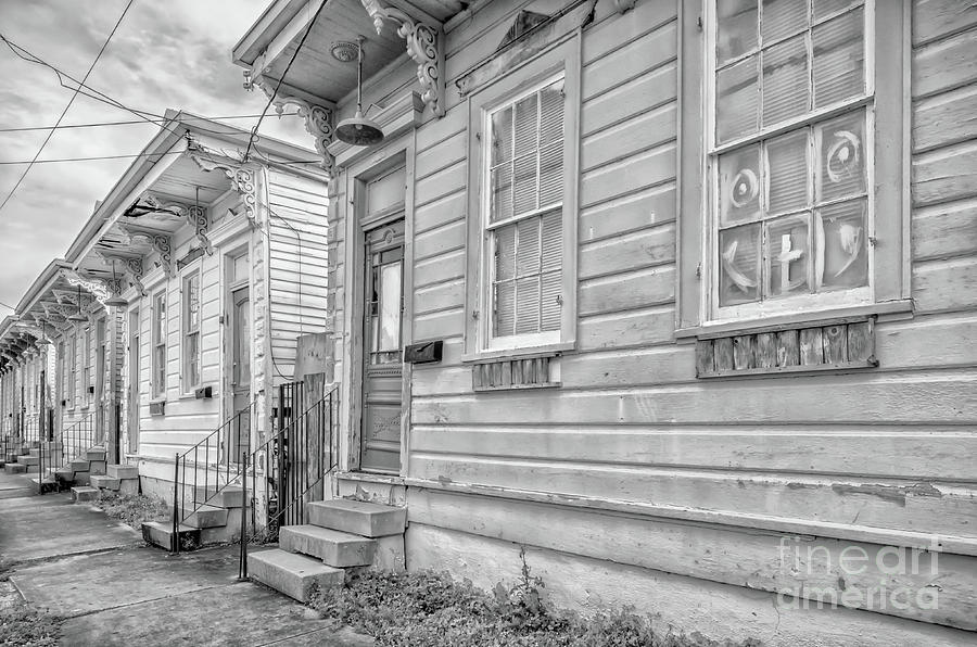 Row Houses -darker-bw- Nola Photograph