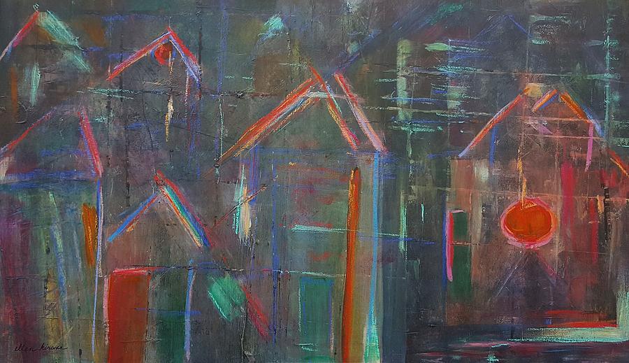 Abstract Mixed Media - Row Houses by Ellen Kirwan