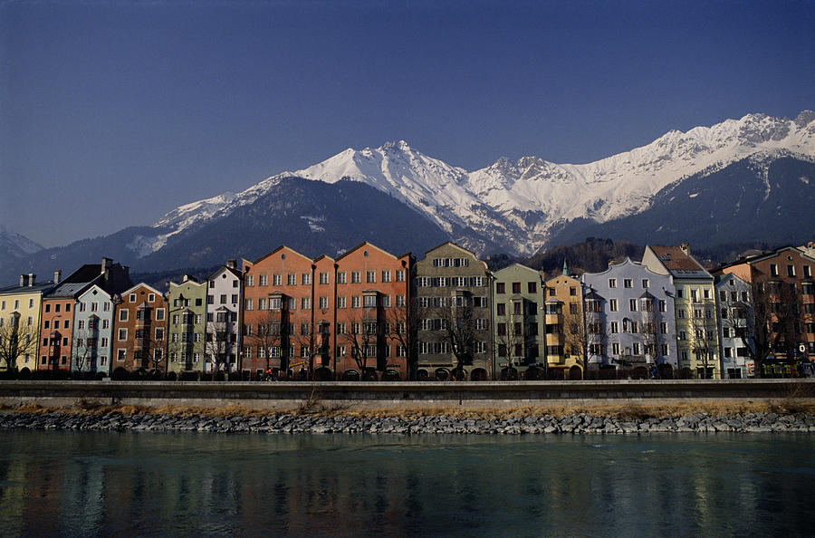 Row Of Houses In Innsbruck, Austria Photograph by Neil Beer