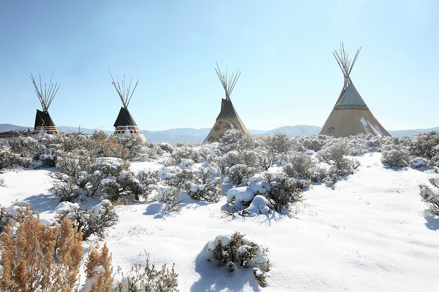 Row Of Teepees In A Snowy Field Photograph by Win-initiative