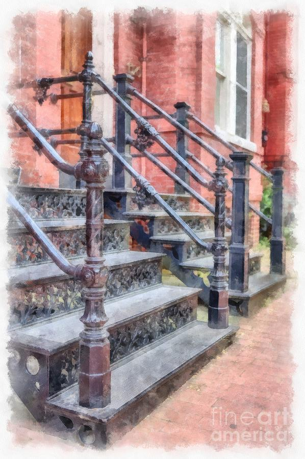 Rowhouse Stairs Washington DC Neighborhood by Edward Fielding