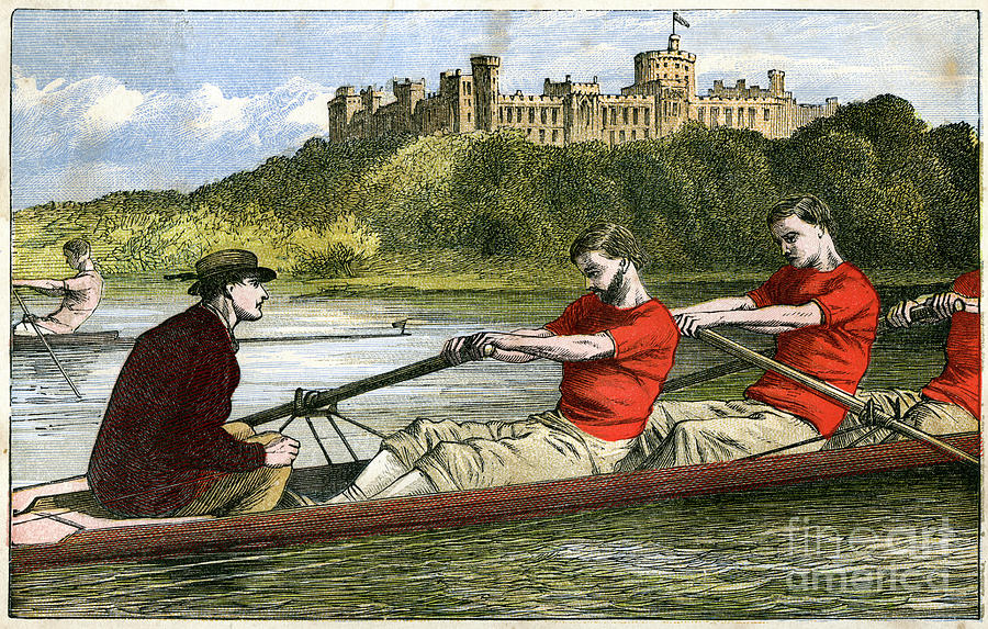 Rowing, 19th Century Drawing by Print Collector