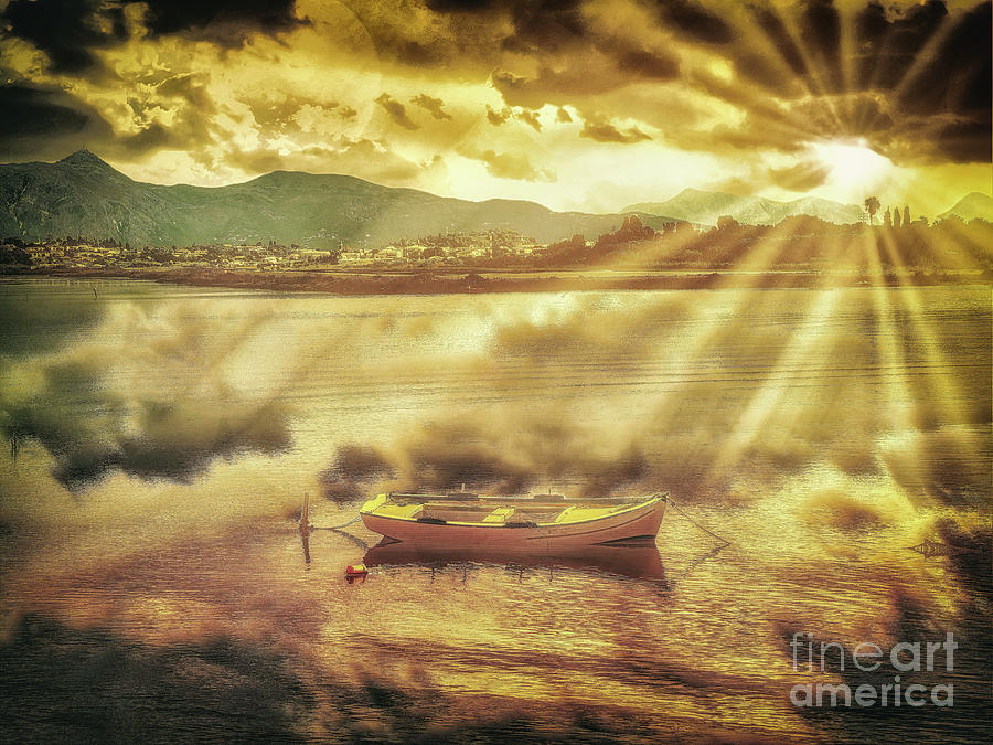 Rowing Boat Photograph - Rowing Boat, Corfu by Leigh Kemp