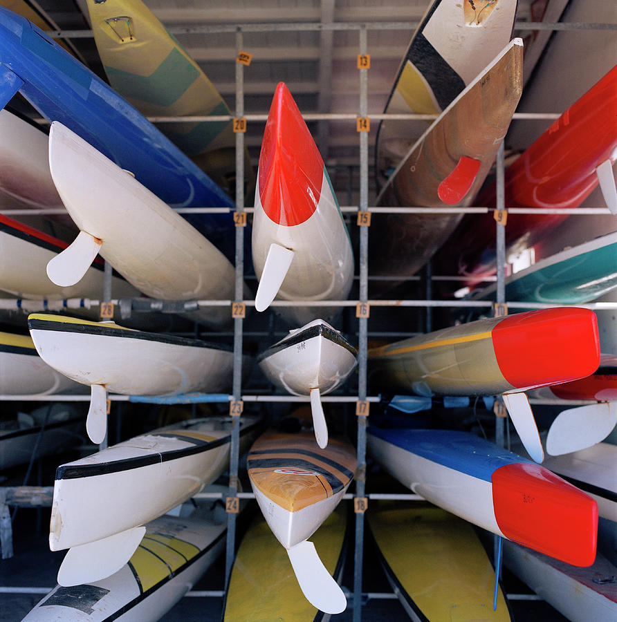 Rows Of Canoes In Boat House, Close-up Photograph by Shoula