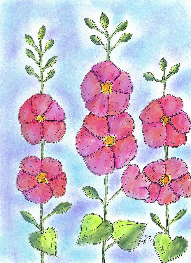 Rows of Pink Flowers by Susan Campbell