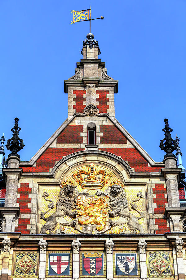 Royal Coat of Arms at Amsterdam Centraal Station by John Rizzuto