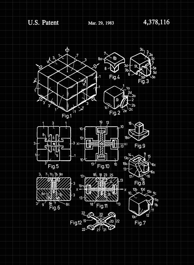 Rubik's Cube Patent 1983 - Black and White by Marianna Mills