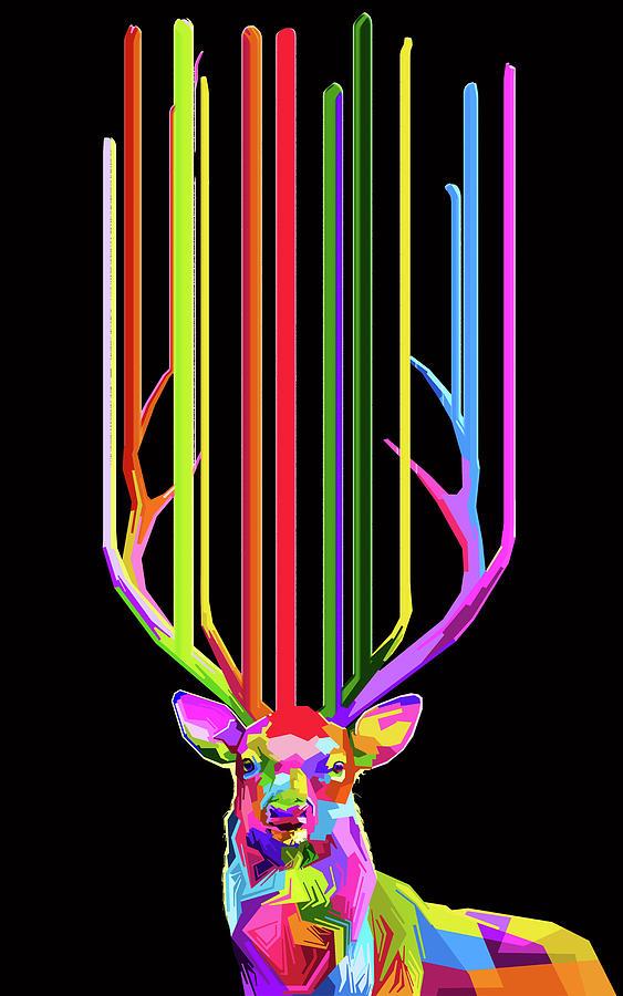 Rubino Deer Flower Rainbow Floral Lines Painting