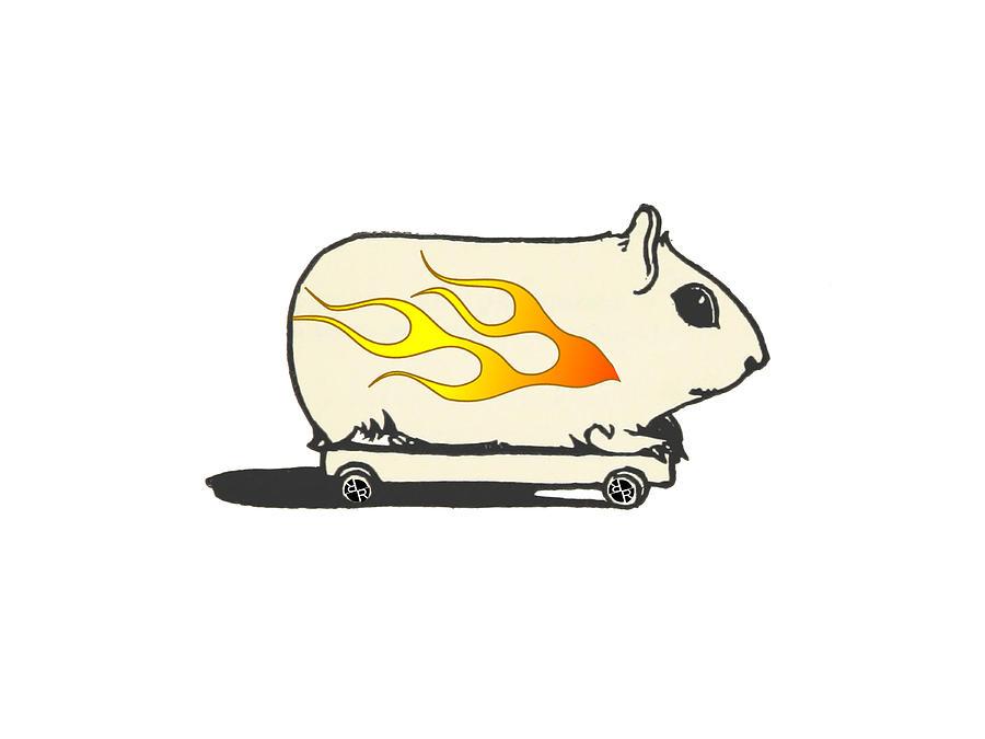 Man Painting - Rubino Funny Race Car Gerbil Hamster by Tony Rubino