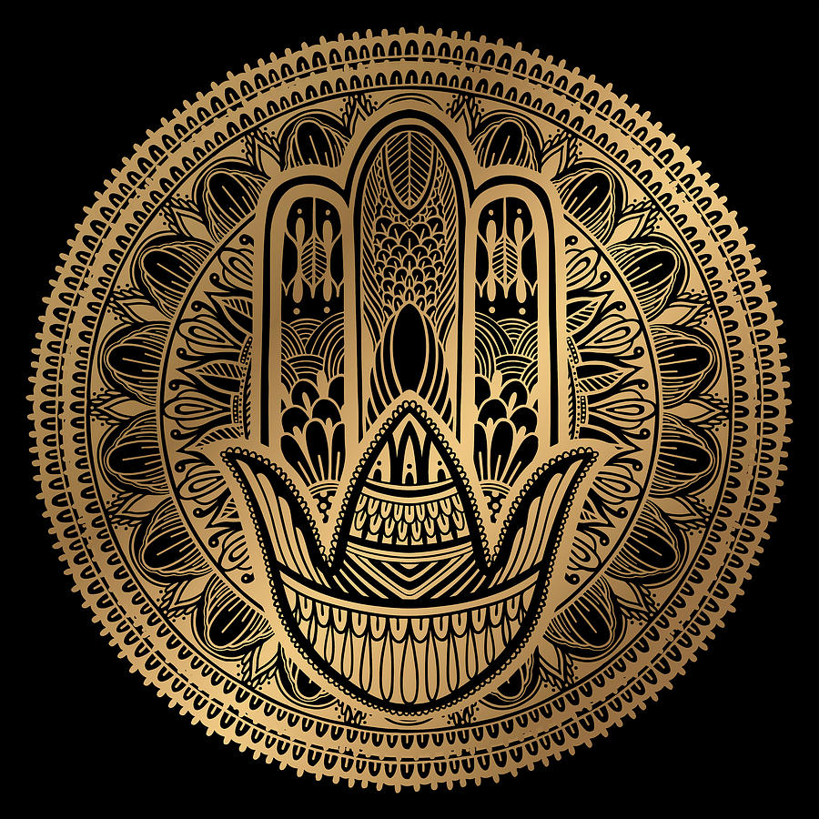 Rubino Mandala Sepia India Hamsa by Tony Rubino