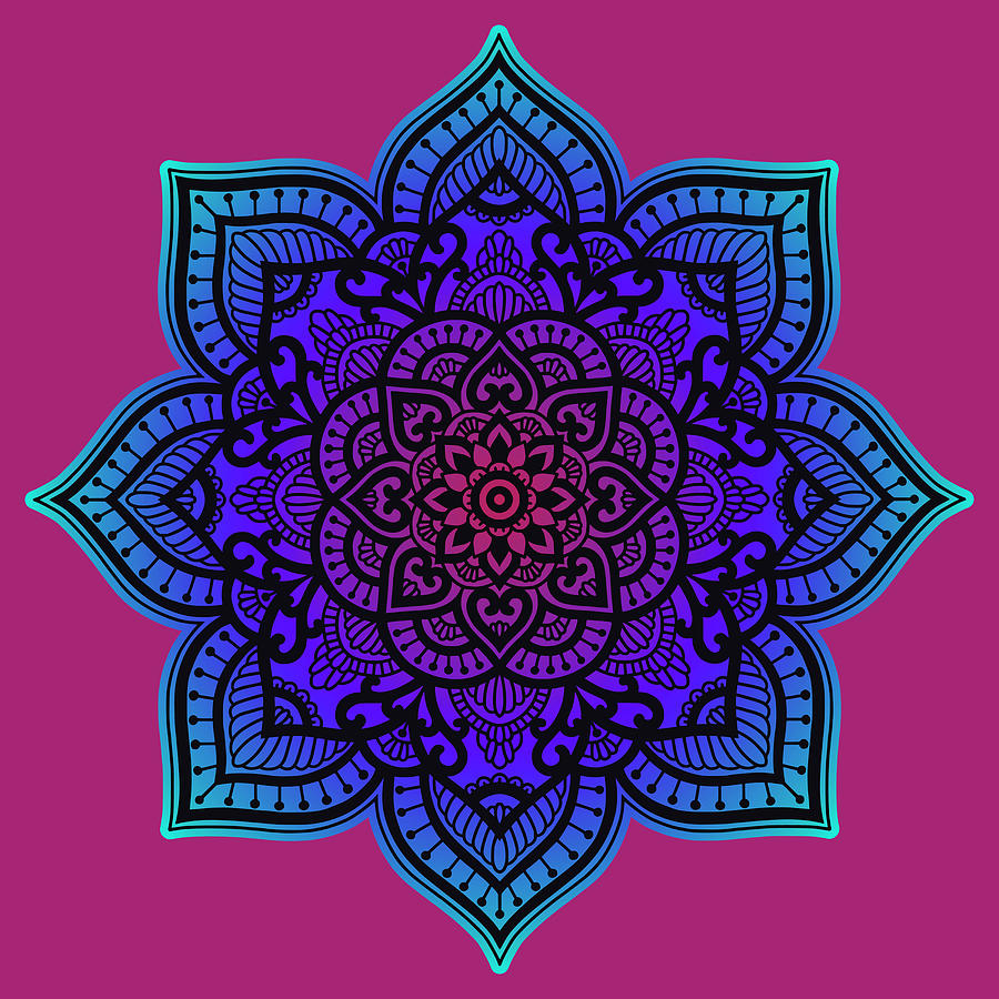 Rubino Zen Flower Yoga Mandala Asia Purple by Tony Rubino