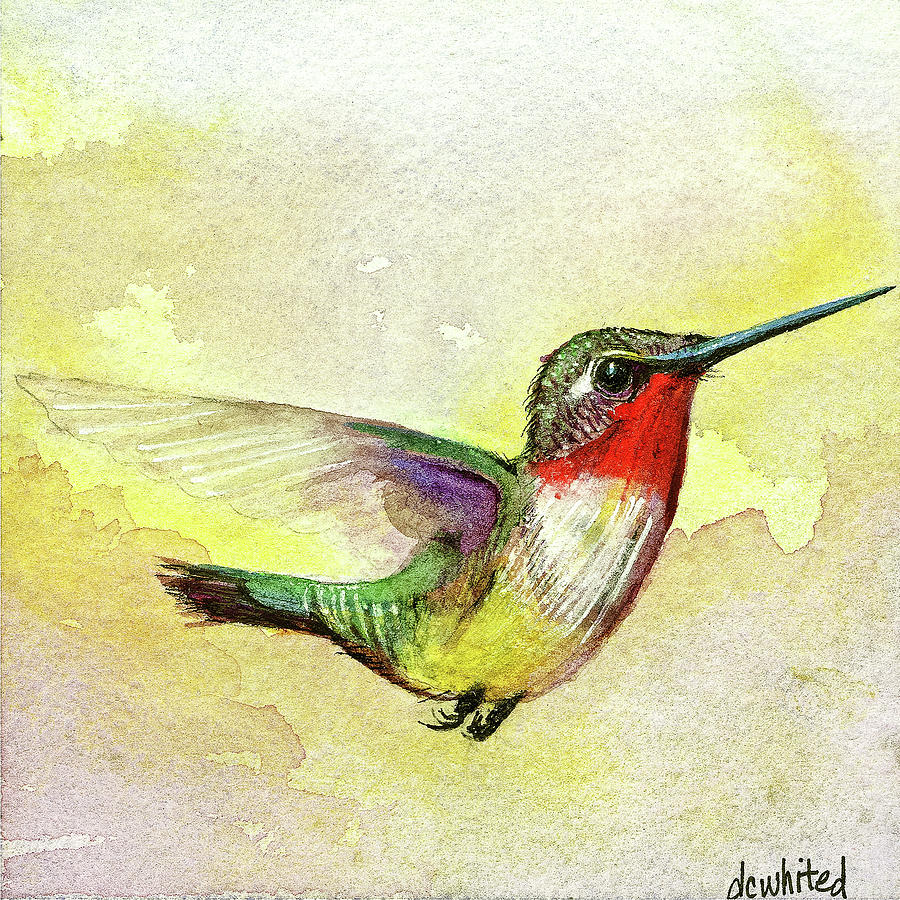 Ruby-throated Hummingbird Painting by Dave Whited
