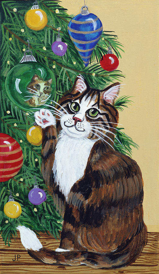 Domestic Cats Painting - Rudolpha Awaiting An Ornament by Jan Panico