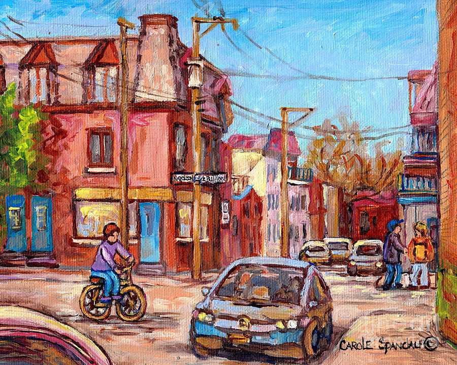 RUE DEBULLION AND NAPOLEON CORNER STORE ACROSS BAKERY PELOPONISSOS MONTREAL PAINTINGS C SPANDAU ART by CAROLE SPANDAU