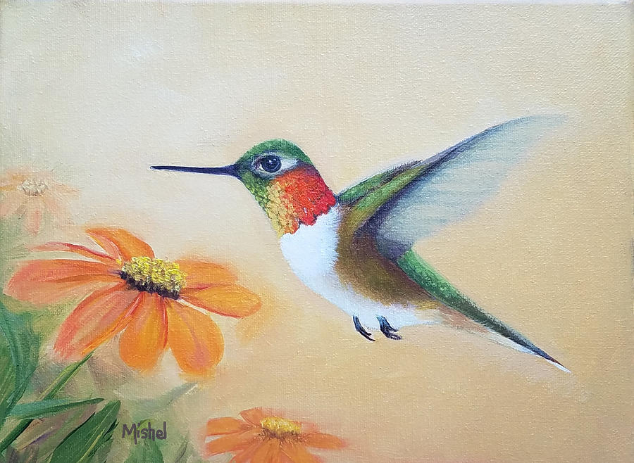 Rufous in Marigolds  by Mishel Vanderten