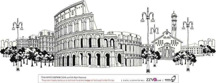 Ruined Amphitheater Digital Art by Eastnine Inc.