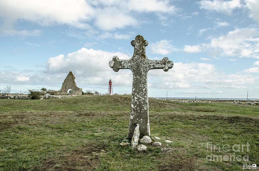Ruins and stone Cross by Elaine Berger
