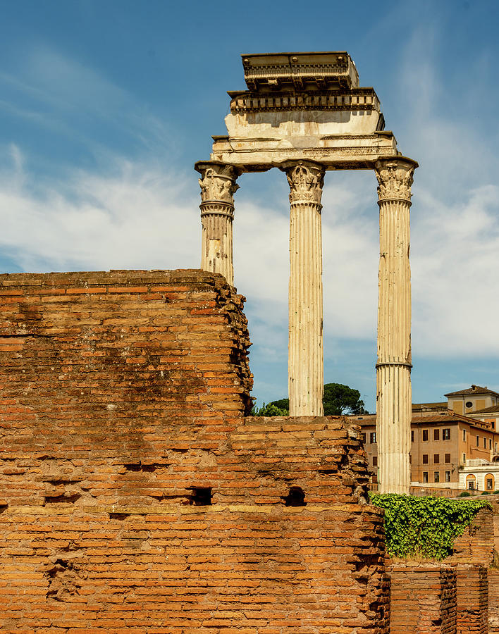 Ruins Of Temple Of Castor And Pollux Photograph