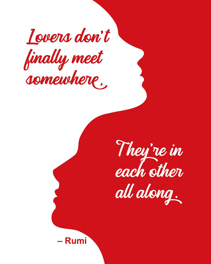 Rumi Lovers Quote Red Silhouette by Ginny Gaura