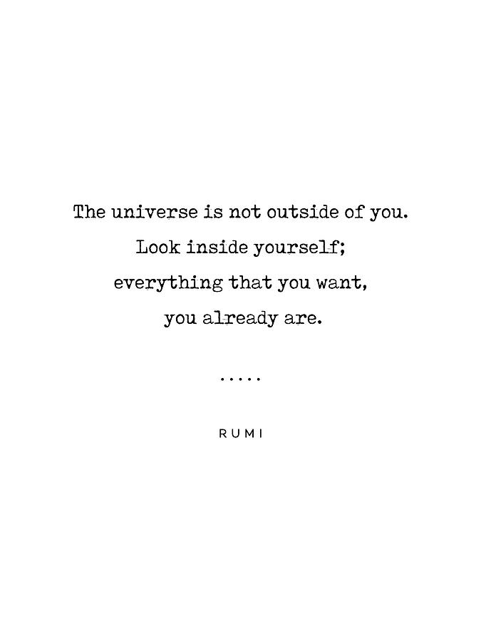 Rumi Quote Mixed Media - Rumi Quote 22 - Minimal, Sophisticated, Modern, Classy Typewriter Print - The Universe Is Inside You by Studio Grafiikka