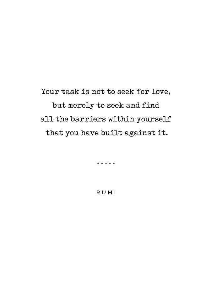 Rumi Quote On Love 01 - Minimal, Sophisticated, Modern, Classy Typewriter Print Mixed Media