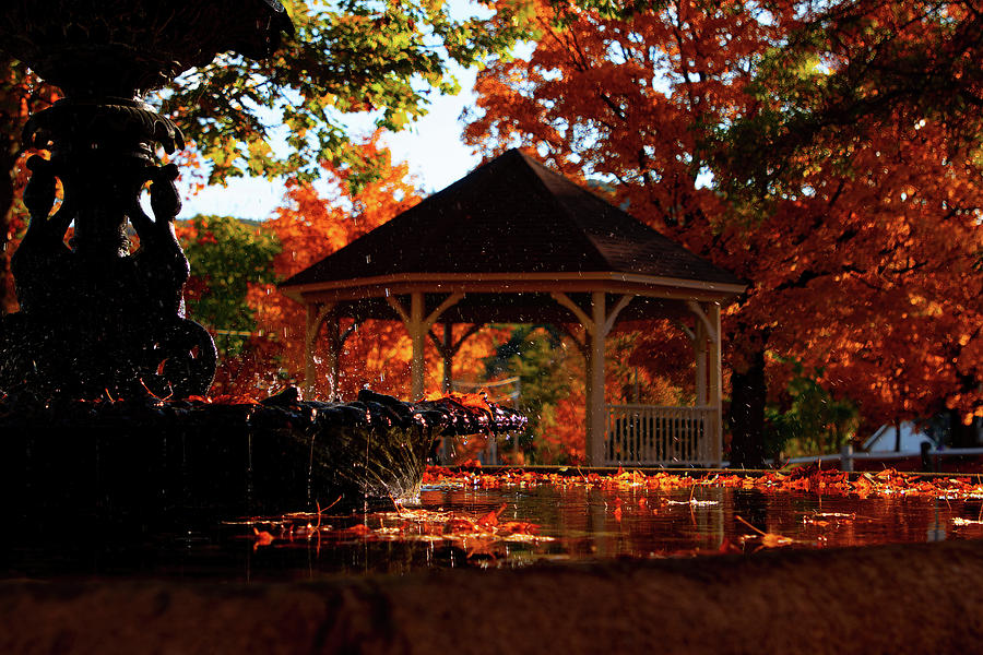 Rumney Common Fountain in Fall Colors by Jeff Folger