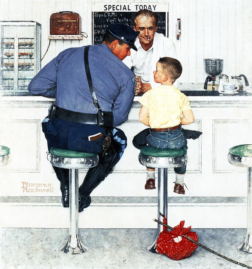 Boy Drawing - Runaway by Norman Rockwell