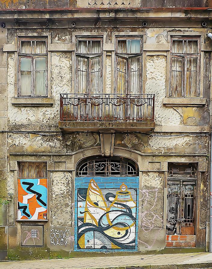 Rundown Doors  and Windows with Graffiti by Douglas J Fisher