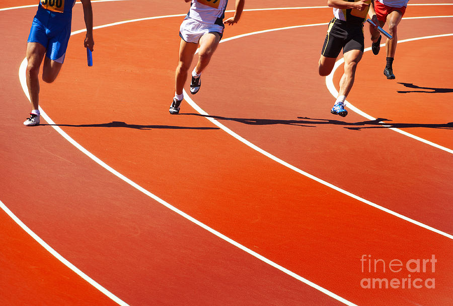 Compete Photograph - Running Athletes At Stadium In Relay by Valery Bareta