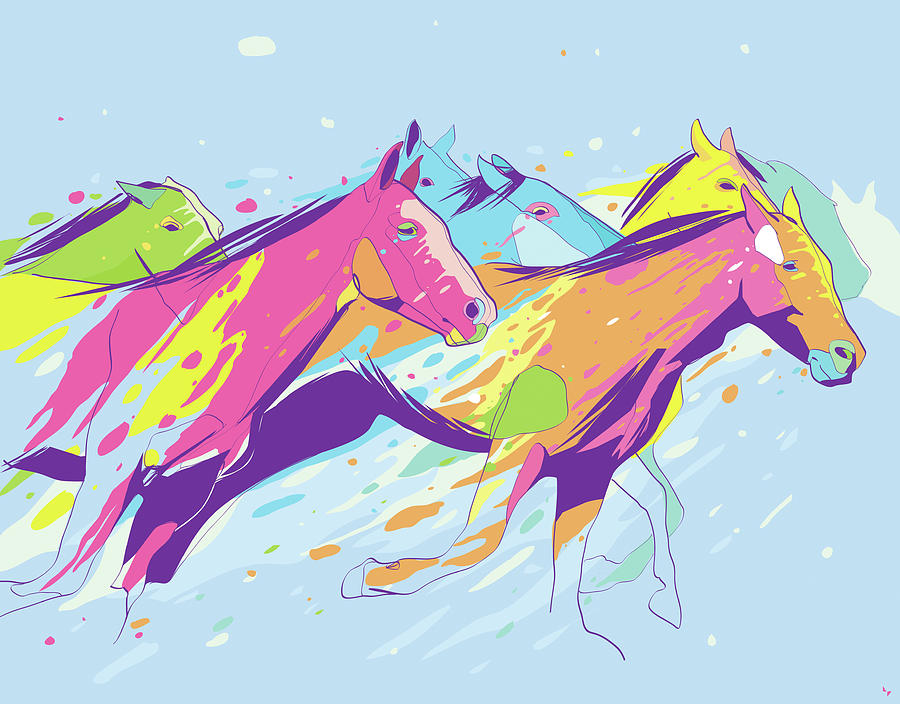 Running Horses Digital Art by Rubens Lp