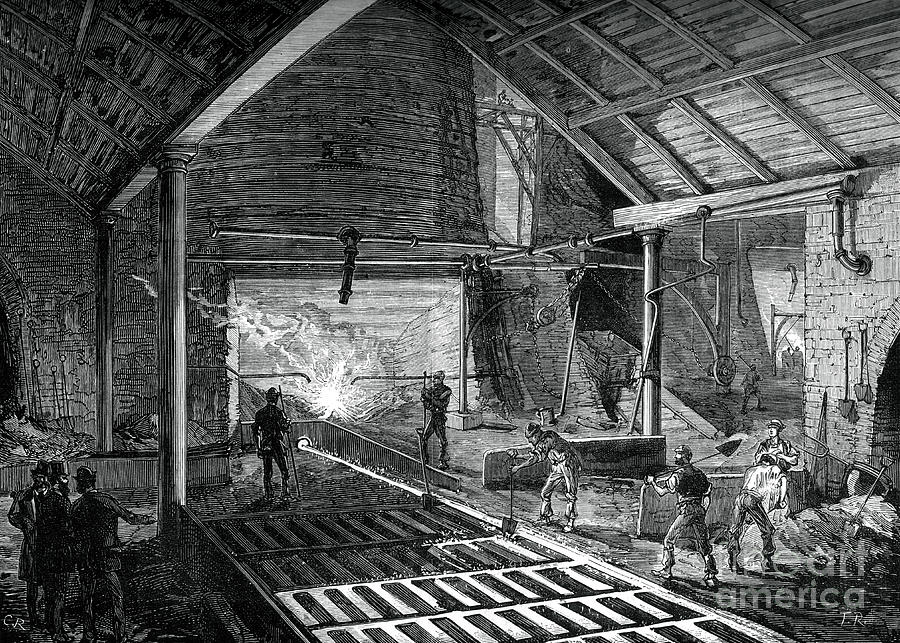 Running The Molten Iron Into The Pigs Drawing by Print Collector