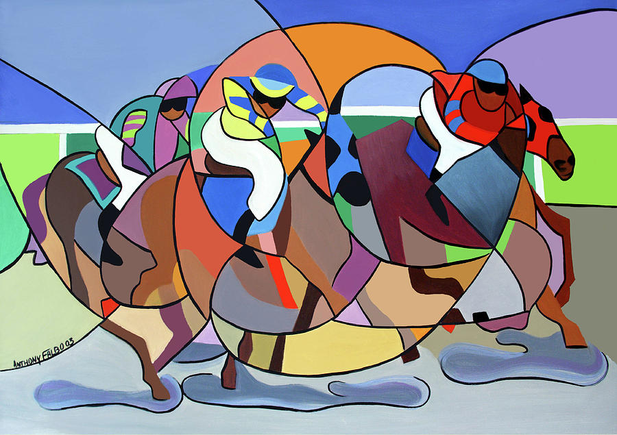 Cubism Painting - Running The Race by Anthony Falbo