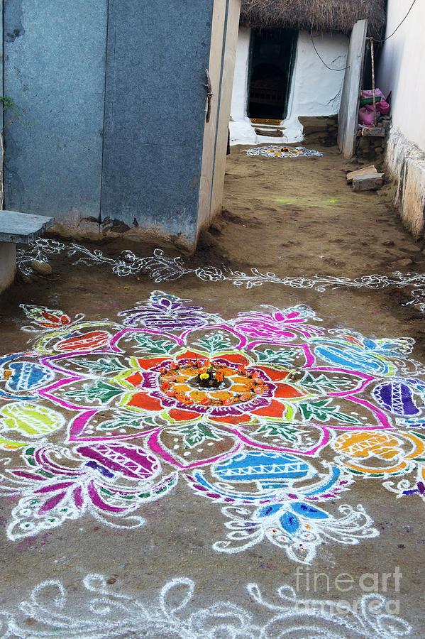 Rural Indian Village Rangoli by Tim Gainey