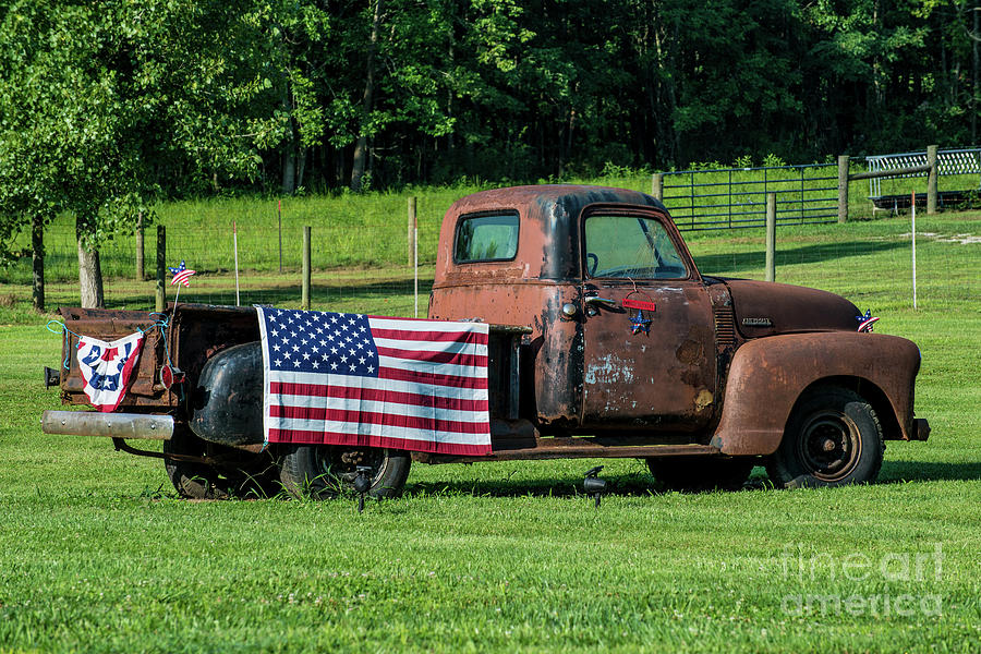 Rural Kentucky - Vintage Pickup Truck - American Flag by Gary Whitton