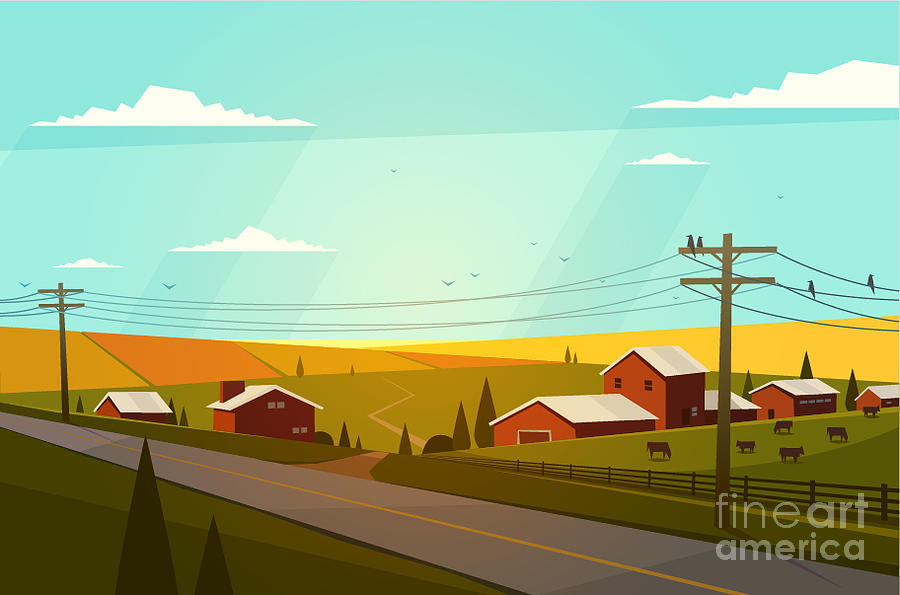 Country Photograph - Rural Landscape. Vector Illustration by Doremi