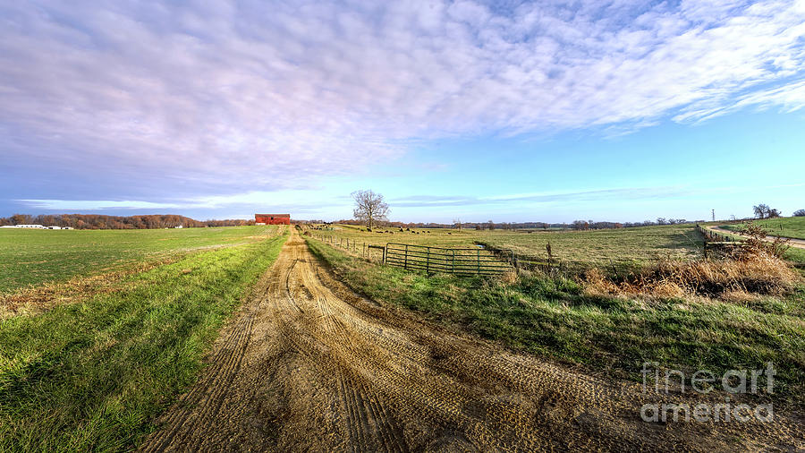 Rural Maryland Farm Landscape with long Dirt Road leading to a Red barn by Patrick Wolf