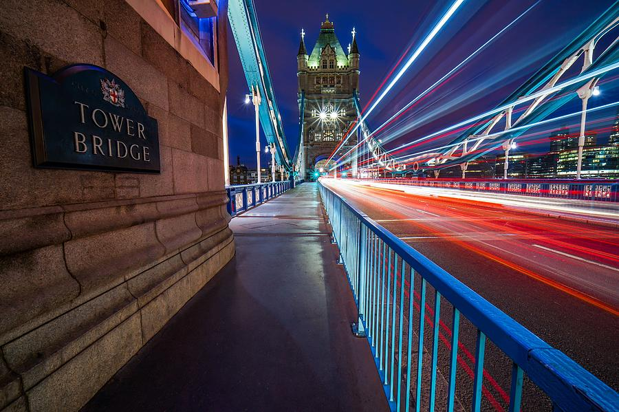 Rush Hour At Tower Bridge In London, England, With No People In Sight. Photograph