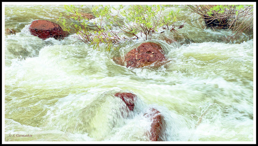 Rushing Water, Big Thompson River, Rocky Mountains by A Gurmankin