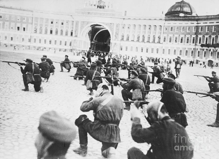 Russian Soldiers Firing Rifles Photograph by Bettmann